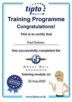 Great Rail Journeys Certificate