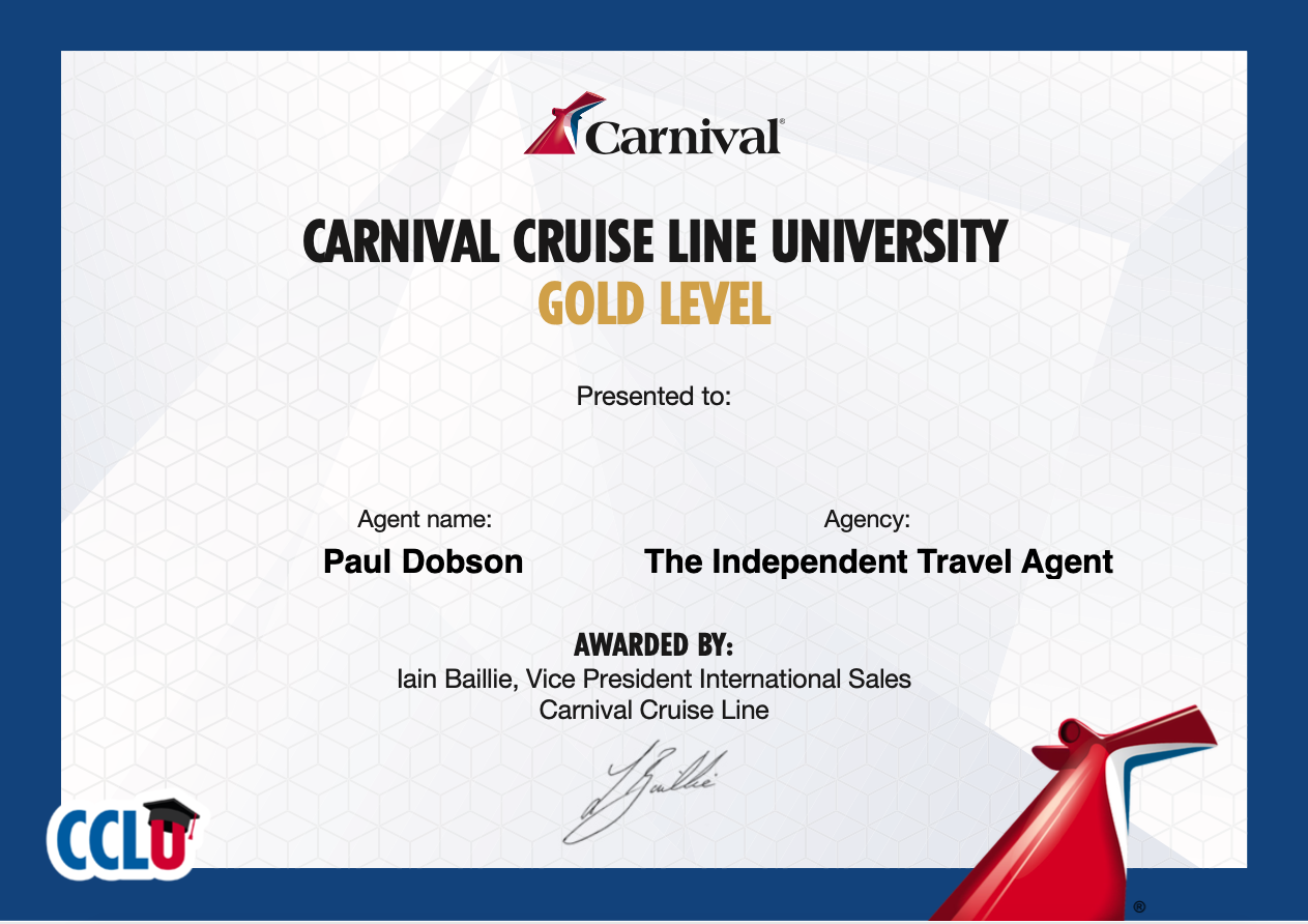 Carnival University Gold Award Certtificate