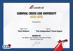 Carnival University Gold Award Certtificate