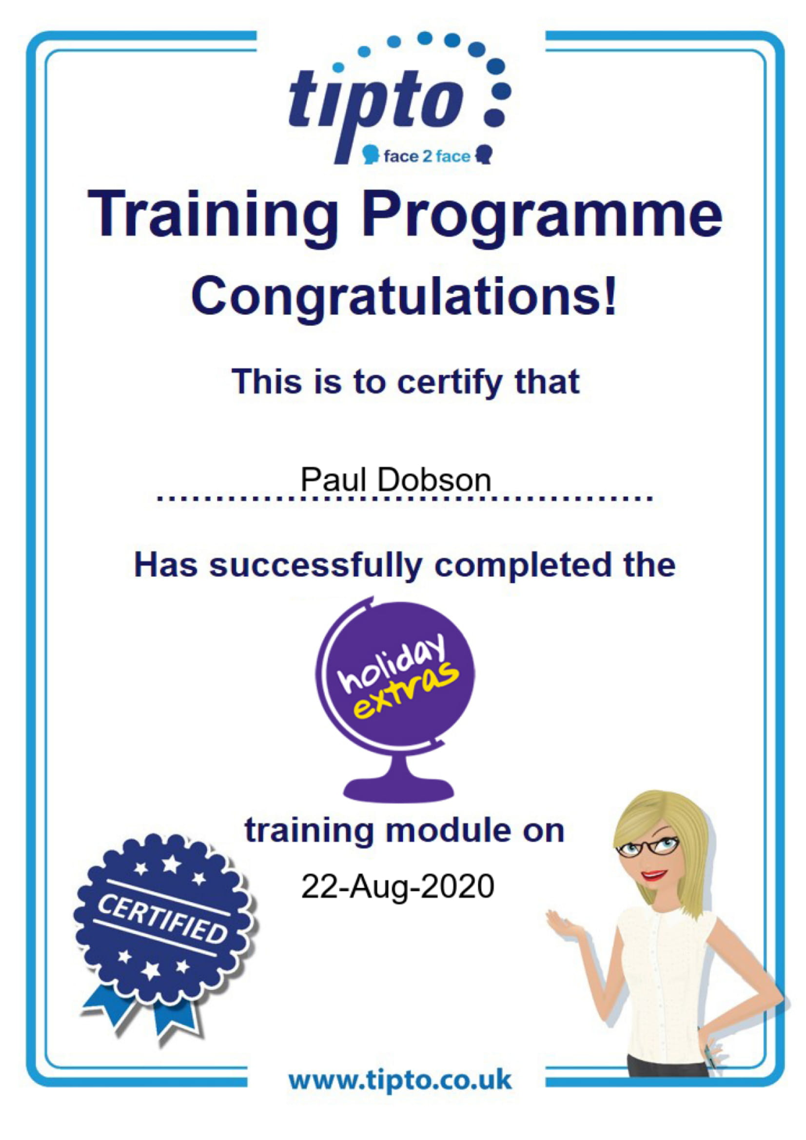 Holiday Extras Certificate