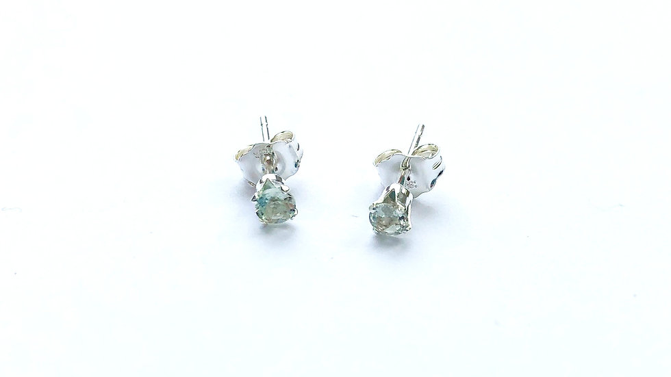 green amethyst sterling silver ear studs