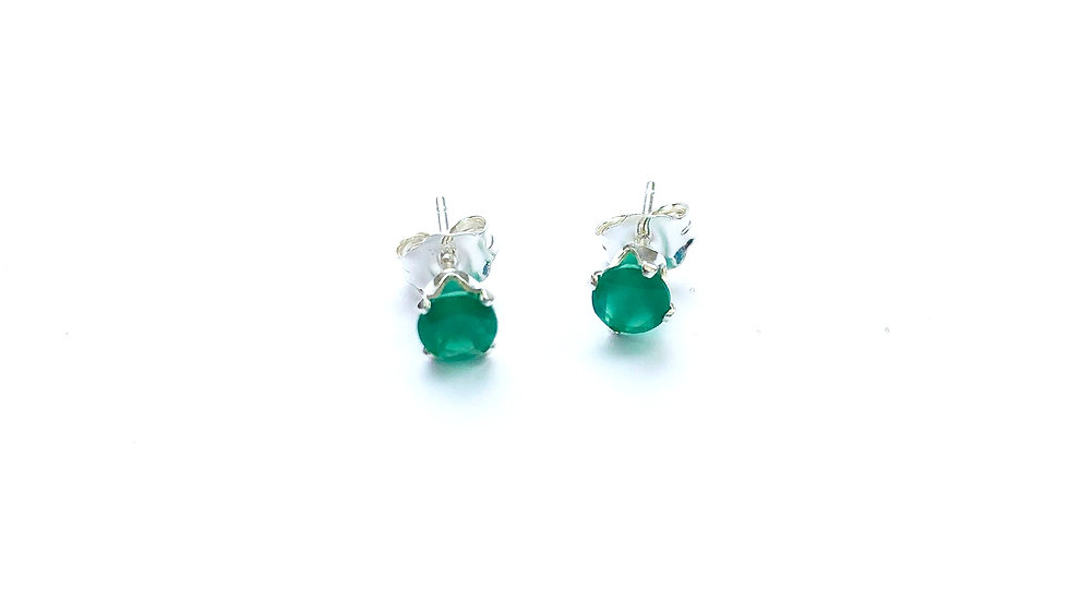 green onyx sterling silver ear studs