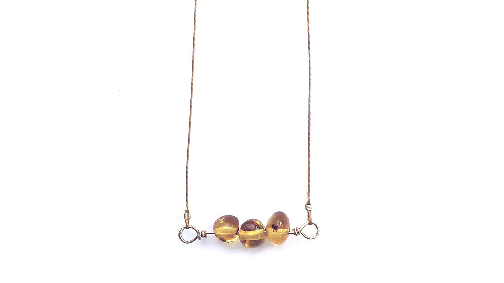 amber bead bar necklace