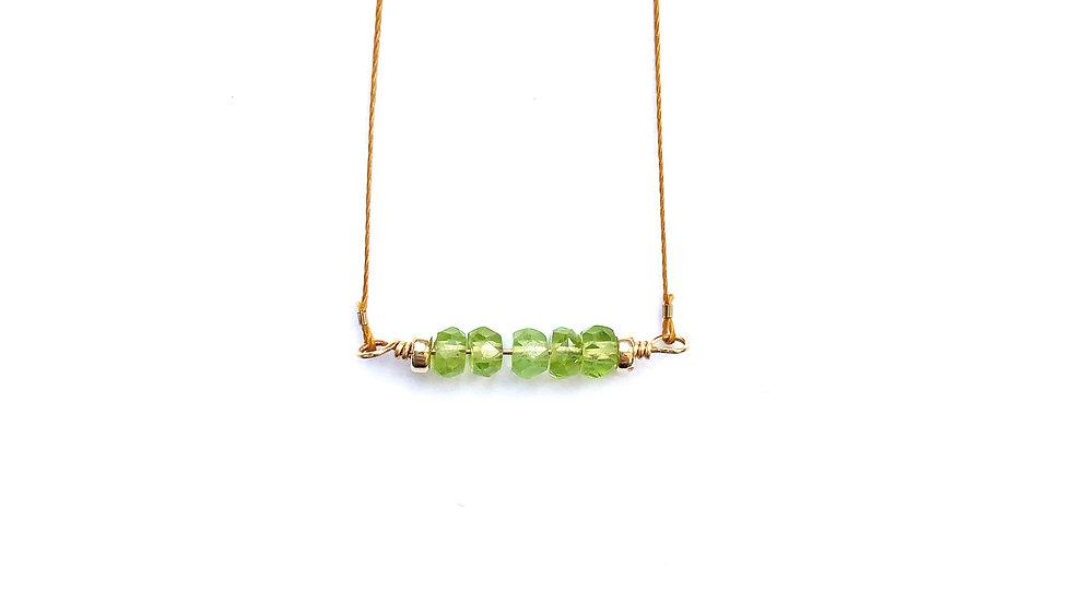 peridot bead bar necklace