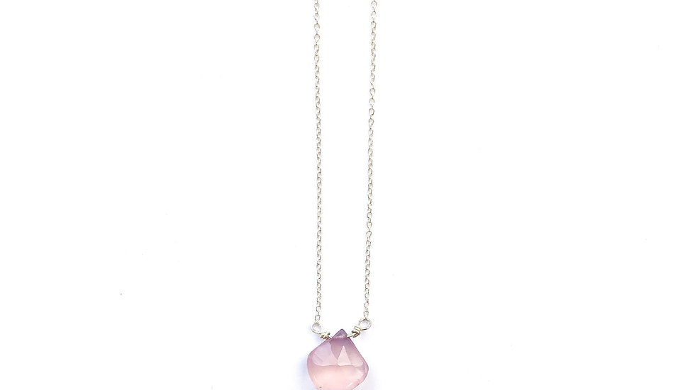 rose quartz briolette necklace