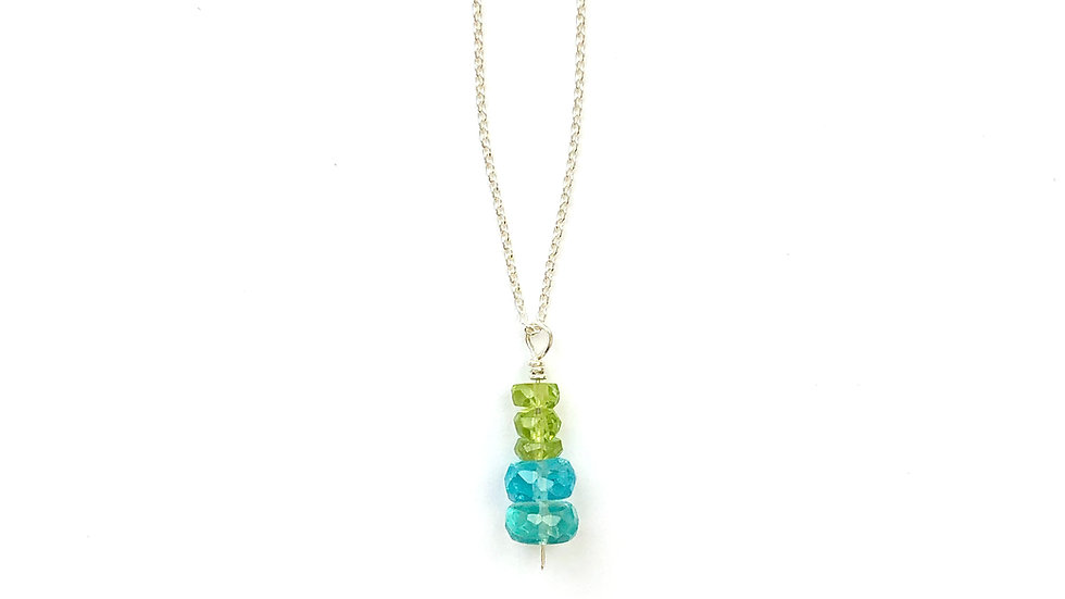 apatite and peridot pendant necklace