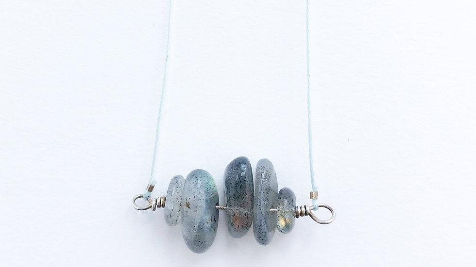 labradorite bead bar necklace