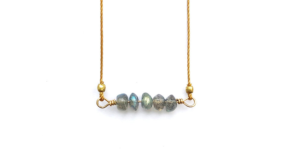 labradorite bead bar necklace