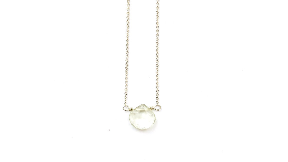 green amethyst faceted briolette necklace