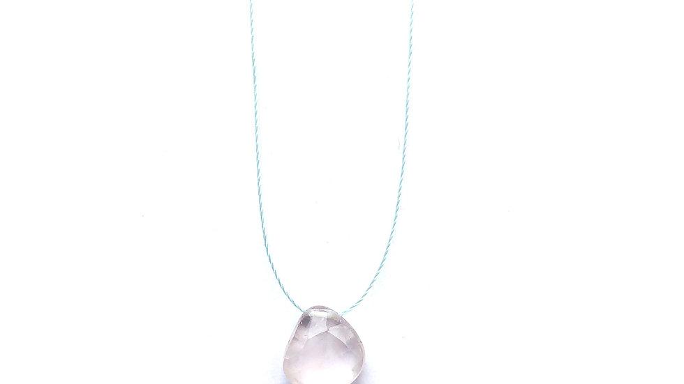 rose quartz fine cord necklace