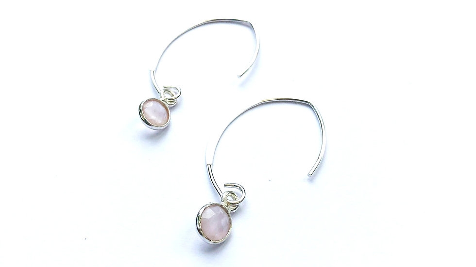 rose quartz charm sterling silver earrings