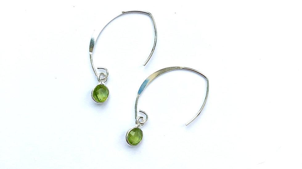 peridot charm sterling silver earrings