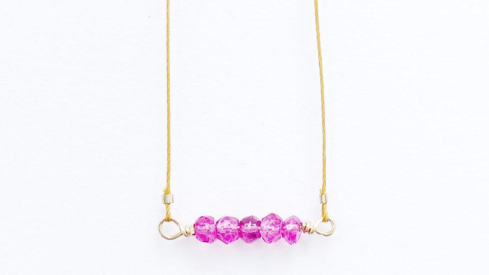 pink quartz bead bar necklace