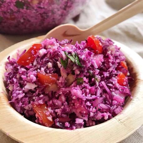 Raw Red Cabbage-Cauliflower Tabule