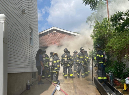 FSMFD Members operating at a detached garage fire 6/28/20