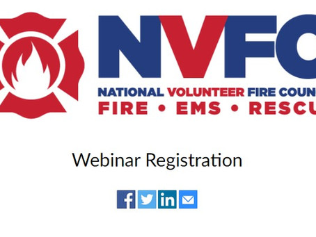 NVFC informational webinar session on what it's like to be a fire service volunteer August 18 at 3pm