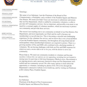 A letter from the FSMFD Chairman of the Fire District to our community.