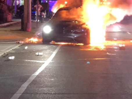 FSMFD Members responded to a car fire on Hempstead tpke & Nassau Blvd