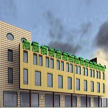 Tervezés: 1993-94  Tervezőtárs:  Kőnig Tamás  A földszinten és az első emeleten üzletek találhatók. A földszintiekhez külön vizesblokk is csatlakozik, az emeletiekhez közös wc-csoportot és teakonyhát terveztünk. A földszintre egy bankfi ók is kerül, a szükséges kiszolgáló helyiségekkel, osztott pénztárteremmel. Az üzletek lehetőség szerint nem csak az utcáról, hanem a belső térből is megközelíthetők, így az aula az Árpád út és a sétáló utca természetes folytatásává válik. Az aulában árusító pavilonok is elhelyezhetők. A 2. emeleten reprezentatív irodák találhatók. Kialakításuk fl exibilis használatot tesz lehetővé. A fokozott installációt igénylő vizes helyiségeket egymás fölé telepítettük, így a válaszfalazás módosítható. A 3., 4. emeleti lakásokhoz a nappalin és a hálókon kívül konyha, kamra, esetleg étkező, hallvalamint a szobaszámtól függően egy vagy két fürdőszoba és WC tartozik. A földszinten a fal téglacsíkos kőburkolatot kap. Az első és a második emelet kiugró tömegei mintás díszítőtégla burkolatúak. A nyílásokat téglaboltőv illetve acél áthidalók hangsúlyozzák. A ház legfontosabb terének, az aulának a belső kialakítása a homlokzatképzéshez igazodik. A tömör mellvédek teteje vályús kialakítású, növények számára. A lépcsőkorlátok biztonsági üveg, acél és fa kombinációjúak. Az aulára néző falak, tömör mellvédek, pillérek mintás mészhomoktégla burkolatot kapnak.