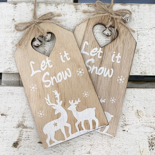Let It Snow Hanging Wooden Tag