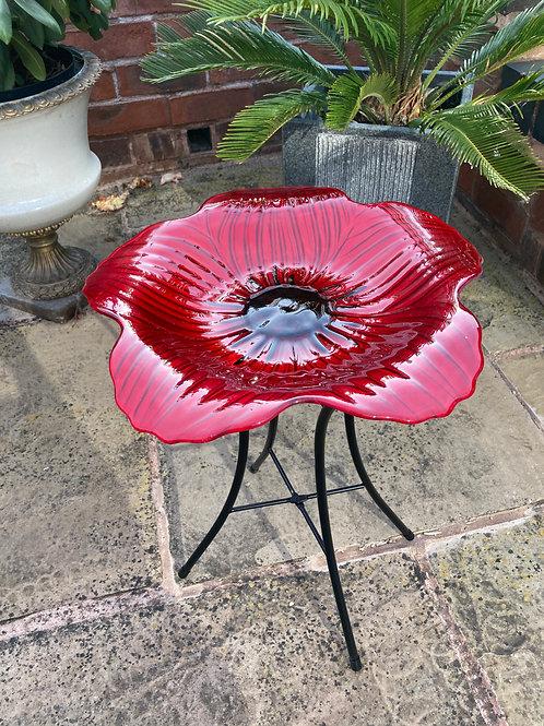 Glass Poppy Bird Bath