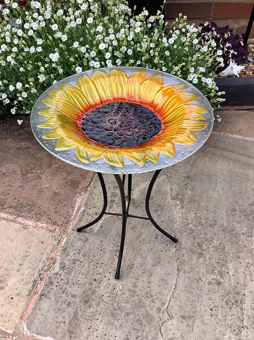 Glass Sunflower Bird Bath