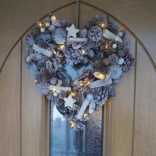 Heart Shaped Led Woodland Wreath