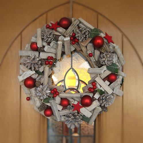Festive Red & Wood Wreath