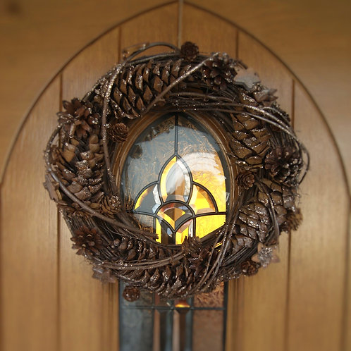 Woven Twig Wreath With Large Pinecones