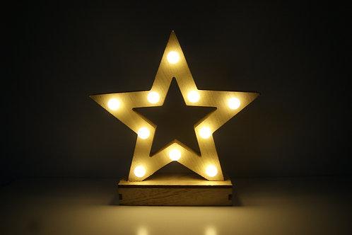 Natural Wood Led Star