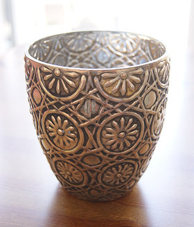 Tarnished Silver Embossed Pot