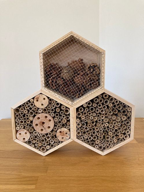 Triple Hexagon Design Insect Bee Hotel