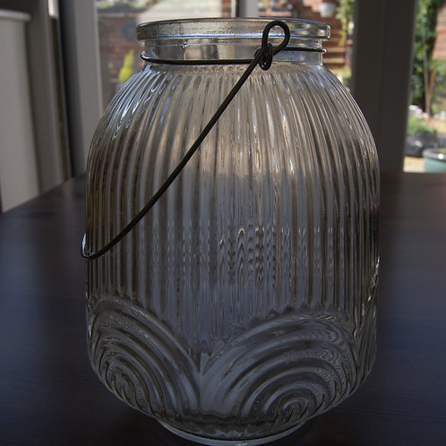 Ridged Glass Candle/ Light Holders
