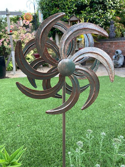 Rustic Flower Wind Spinner Stake