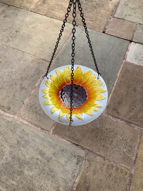 Glass Hanging Sunflower Bird Bath