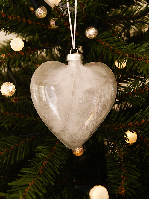 Baby's 1st Christmas Feather Heart Bauble