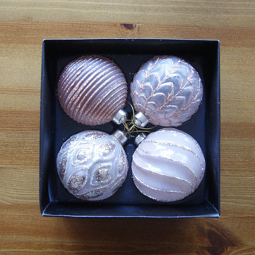 Set Of 4 Blush Pink Glass Baubles