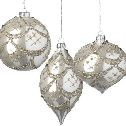 Pearl White Glass Bauble