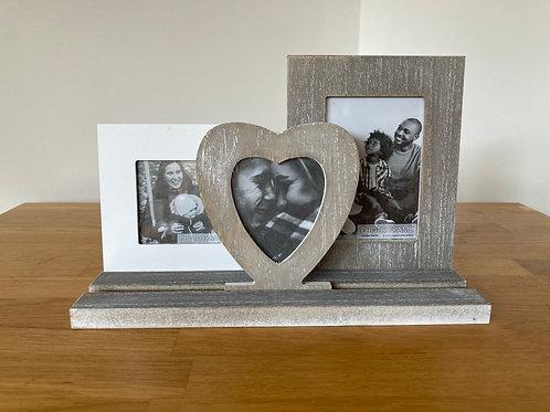 Triple Wood Photo Frame Display