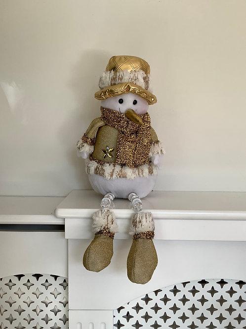 Gold Sitting Snowman Decoration