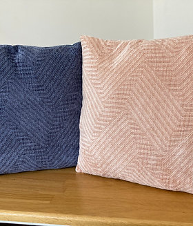 Navy & Pale Pink Patterned Cushions