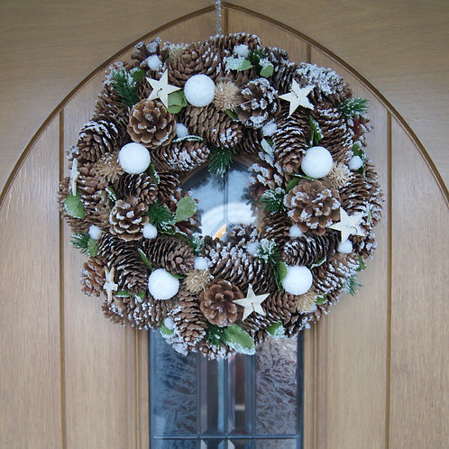 Pinecone Wreath With Snowballs