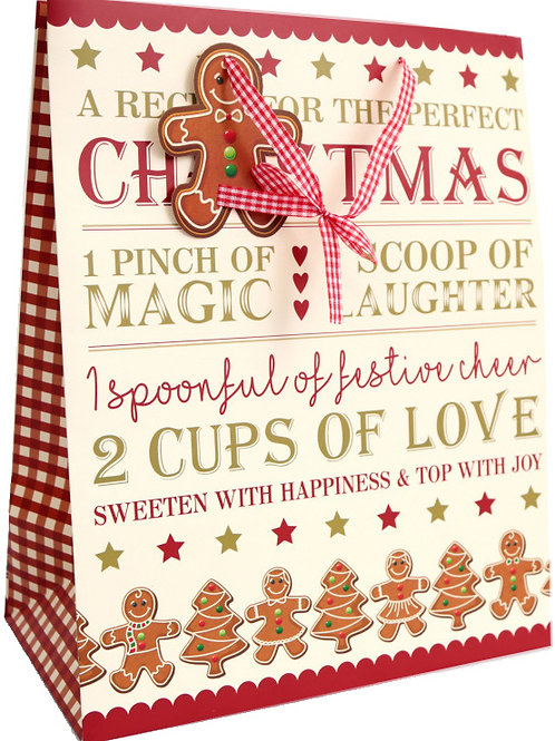 2 x Large Gingerbread Gift Bag