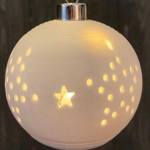 White Ceramic Illuminated Star Bauble