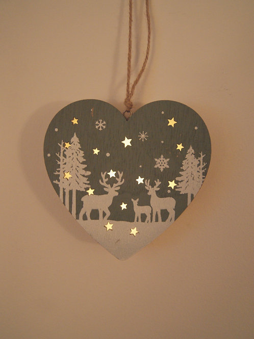 LED Hanging Wooden Heart