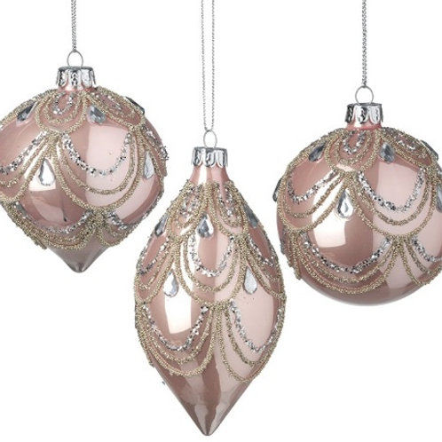 Blush Pink Glass Baubles