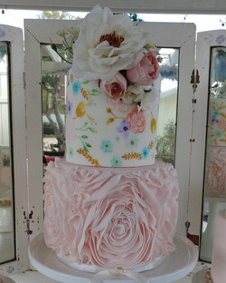 Hand Painted with Ruffled Rosettes 1