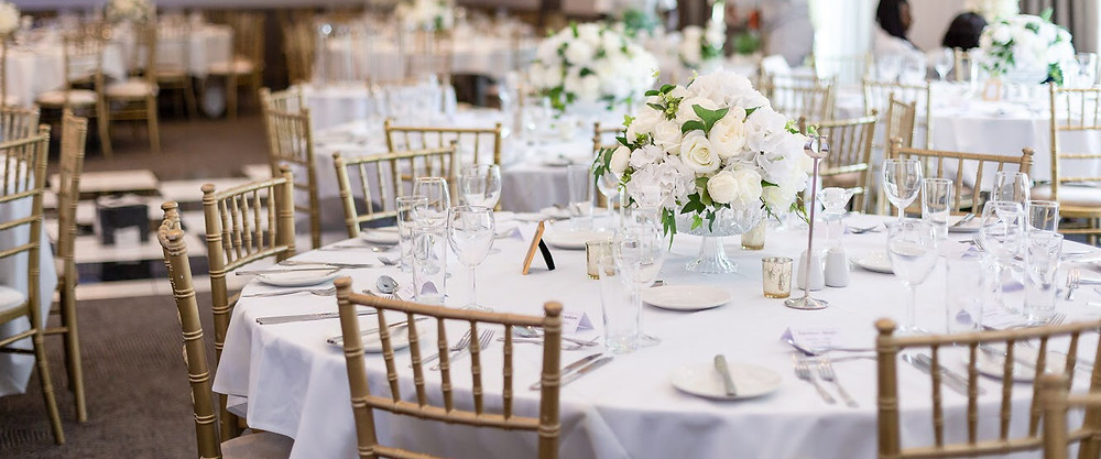 Elegant white and green wedding decor at the Double Tree by Hilton in Dartford, Kent.