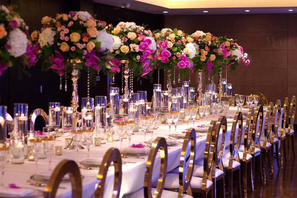 Luxury pink orchids wedding centrepiece
