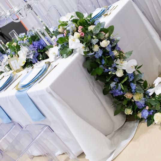 Luxury blue wedding floral runner